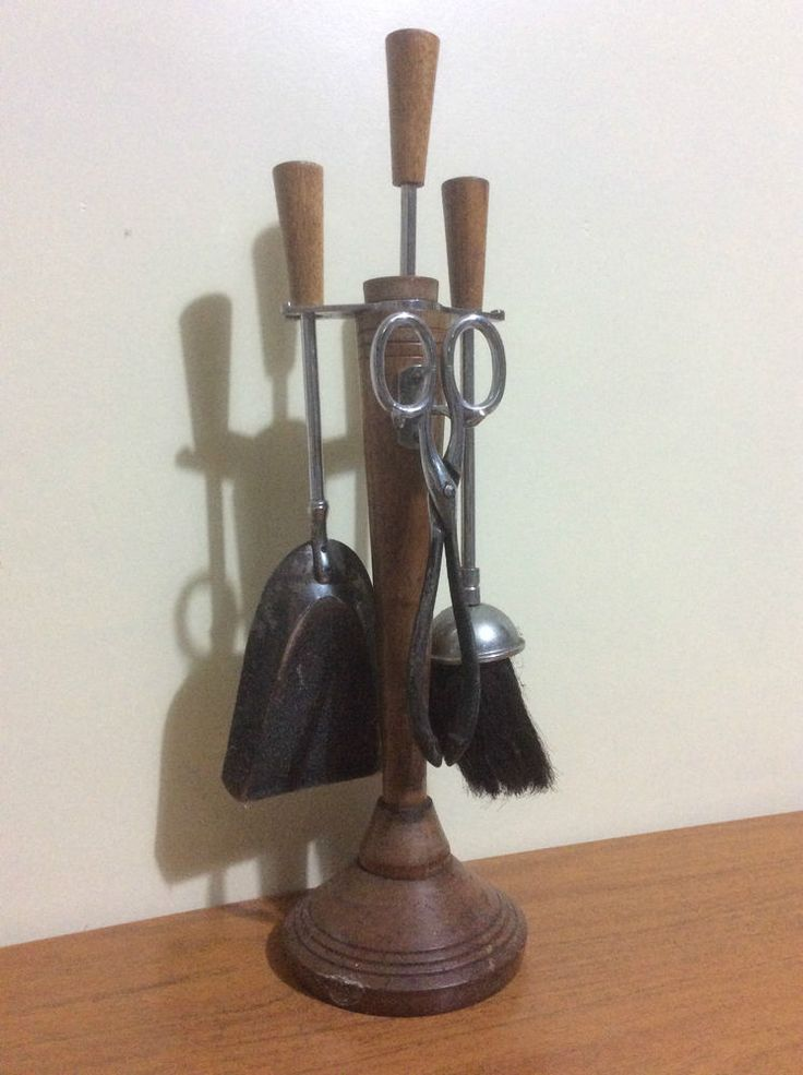 Antique Wood Fire Companion Set Early-Mid 20th Century, Poker Tongs Brush Shovel