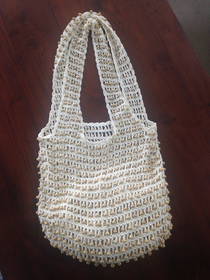 Handcrafted Crochet Beaded Shoulder Bag by Avoka on Etsy