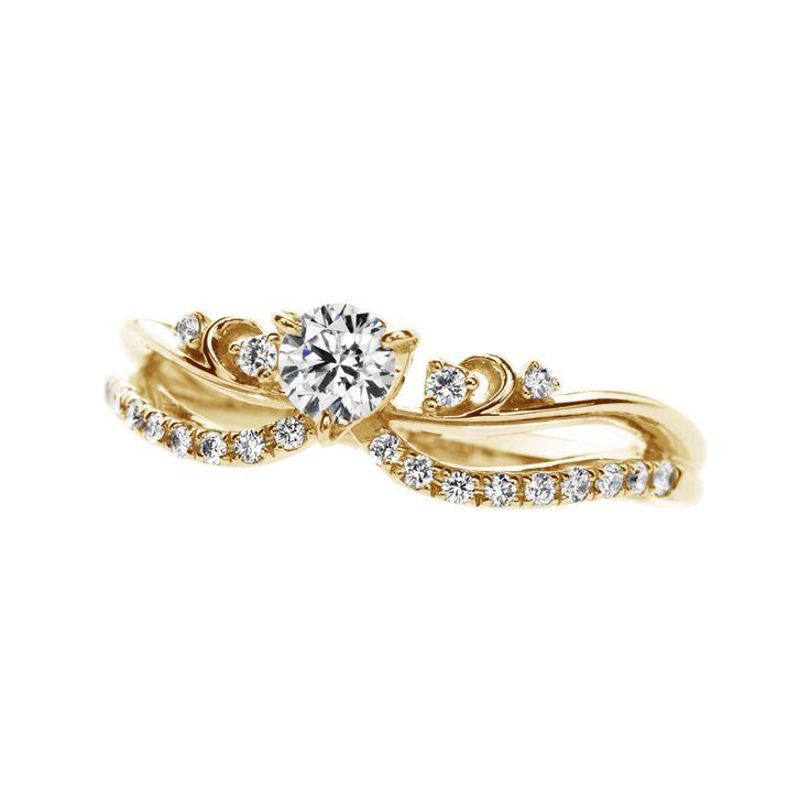 婚約指輪 エンゲージリングのアンヴロペ  Envelopperのイエローゴールドアレンジ。婚約指輪・結婚指輪の専門店マリアージュは、デザインだけで300点以上、アレンジ