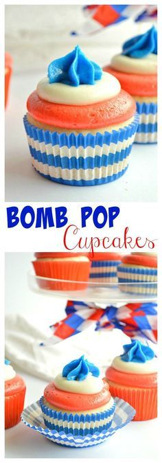 Bomb Pop Cupcakes - made with all the flavors of the classic popsicle! Blue Raspberry, White Lemon, and Cherry! A fun dessert for Memorial Day, 4th of July, or Labor Day! | http://houseofyumm.com for cupcakesandkalech...