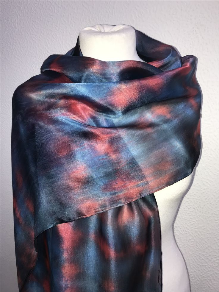 Hand dyed silk scarf in fine habotai silk. Individually hand dyed in red, grey and steely blue to create an elegant accessory for any occasion. It also makes a great present! Now available at http://stores.ebay.co.uk/KatherineEdgeDesigns #handdyed #habotai #oneoffpiece #luxurygifts