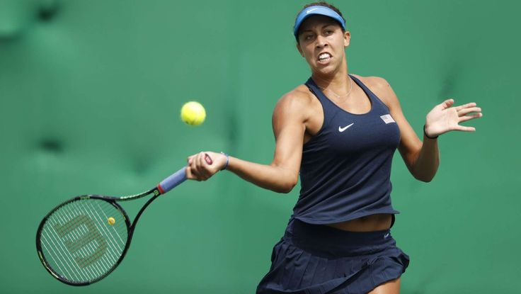 Tennis:  Madison Keys:    Madison Keys hits a forehand during her match with Kristina Mladenovic of France during the women's singles in the Rio 2016 Summer Olympic Games at Olympic Tennis Centre.