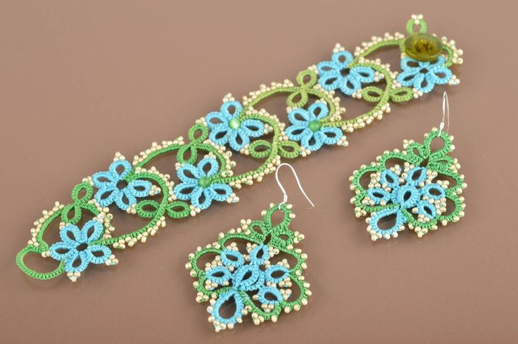 Amazon.com: Handmade Tatted Jewelry Set 2 Items Blue And Green Earrings And Wrist Bracelet: Arts, Crafts & Sewing
