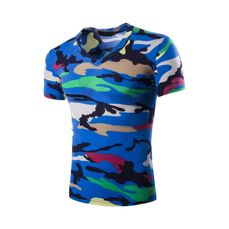 Find More T-Shirts Information about Hot Sell 2016 New Summer Brand Mens T shirt Fashion Slim Camouflage V neck Short Sleeved t shirt Men's Casual Tops Tees 5  Color,High Quality fashion tees,China tees brands Suppliers, Cheap men t-shirt from DANEL 008 Store on Aliexpress.com