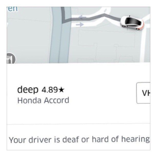So I know this is long but wanted to recount my first #uber ride with a deaf driver with the people. First kudos @uber for disability inclusion. But because I am so not politically correct here is how my convo went with the driver after I got in   Me: so can you hear me? Him: yea Me: oh it says your deaf so I had my sign language app ready but I much rather have your eyes on road Him: (laughs) no Im deaf in my left ear Me: oh ok let me move to the other side Him: (laughs) ok Me: Soo how does…