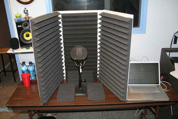 Voice over vocal booth with acoustic foam baffles from Aliso Creek Voice Over Classes