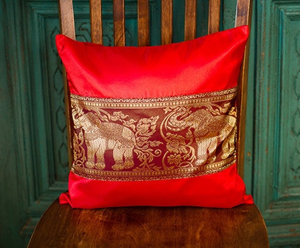 Red and Gold Elephant Thai Silk Cushion Cover