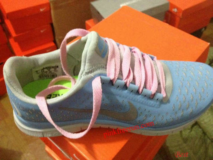 50db2e4eb376 Womens Nike Free 3.0 V4 Prism Blue Reflective Silver Sail Light Pink Lace  Shoes