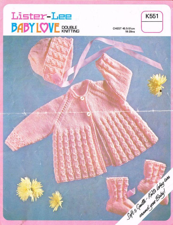 Lister 551 baby matinee coat bonnet set vintage by Ellisadine