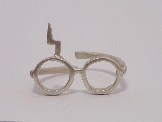 Harry Potter. Lightning glasses.Sterling silver ring.. $25.00, via Etsy.