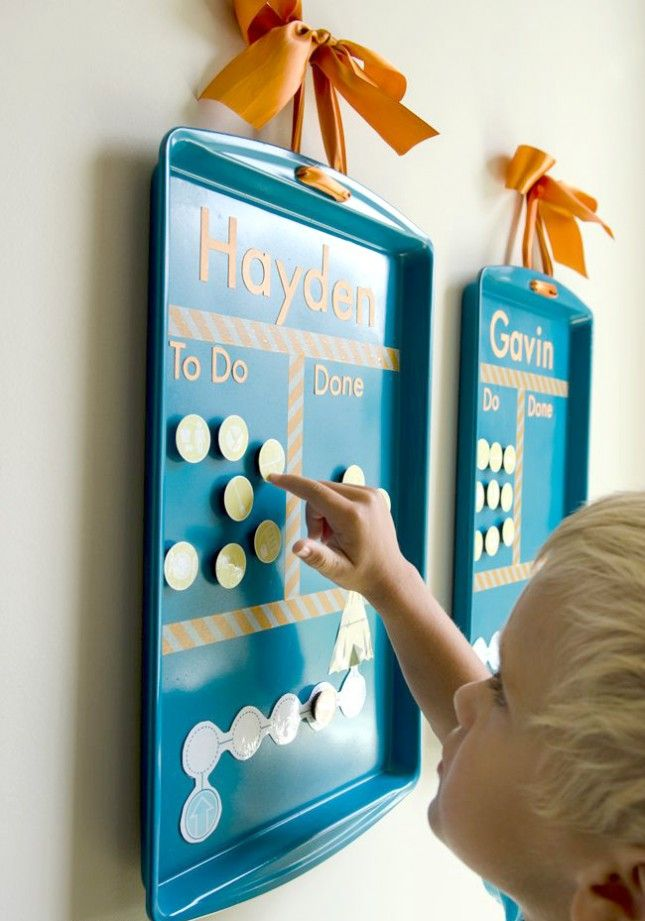 Keep track of chores on a magnetic cookie sheet.