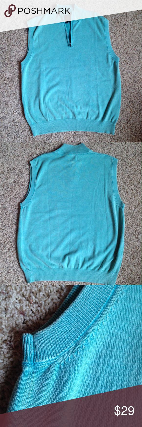 F/X Fusion Men's Sweater Vest Sea Foam Size Large This large vest from F/X Fusion is in great condition! A pretty vintage looking sea foam green color with a half zipper collar. 100% cotton. Perfect for the golf course or the office! F/X Fusion Suits & Blazers Vests