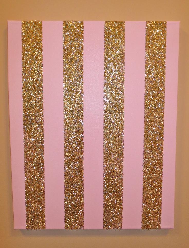 pink and gold sparkle stripe canvas artwork via etsy