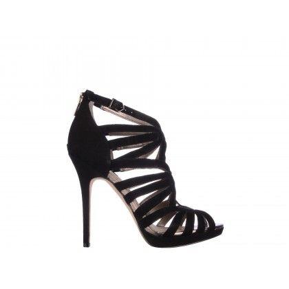Sandale Epica negre, din piele intoarsa