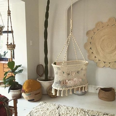 Swooning over this @olliella macrame bassinet! The whole space is