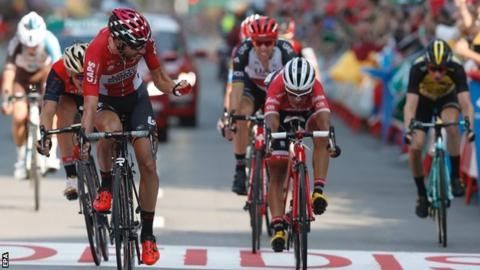Thomas de Gendt won stage 19 in a sprint from a select group of nine riders  Britain's  Chris Froome will take a 97-second lead over Italy's Vincenzo Nibali  into the decisive 20th stage of the Vuelta a Espana.  Saturday's  117.5km route which ends with a gruelling 13.2km climb up the Alto de  l'Angliru precedes Sunday's processional stage to Madrid. Belgium's Thomas de Gendt won stage 19 in Gijon on Friday by reeling in Ivan Garcia Cortina of Spain. Garcia faded to finish third with…