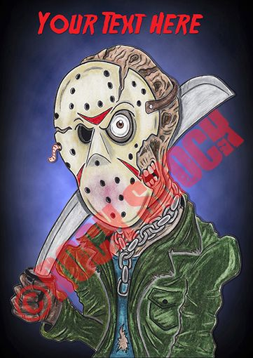 FRIDAY the 13th Caricature Greeting Card with Personalised Text http://www.ebay.co.uk/itm/172357976459?var=&ssPageName=STRK:MESELX:IT&_trksid=p3984.m1558.l2649 #fridaythe13th #friday13th #friday13thcaricature #jasonvoorhees #jasonvoorheescaricature #horror #halloween #horrormovies #horrorcards #caricatures #halloweencards #personalisedcards #crystallake #drawings #celebritydrawings #colouredpencils