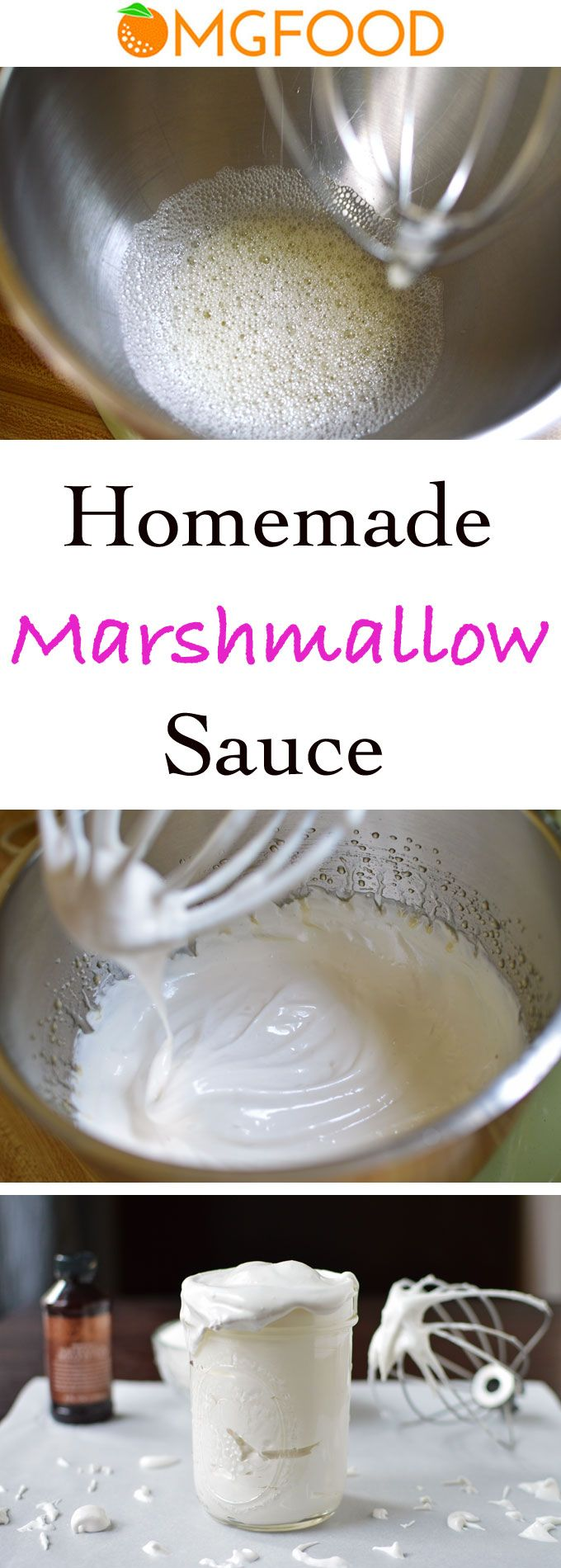 Made with just a few common kitchen ingredients, this homemade marshmallow sauce is easy to make and can be done in a pinch! Use in desserts or make fluffernutters! | omgfood.com