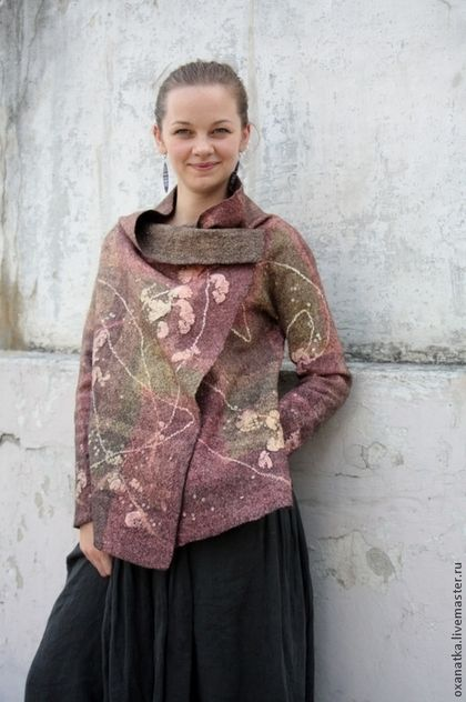 Пиджаки, жакеты ручной работы. Ярмарка Мастеров - ручная работа Валяный жакет Шелковая птица. Handmade.