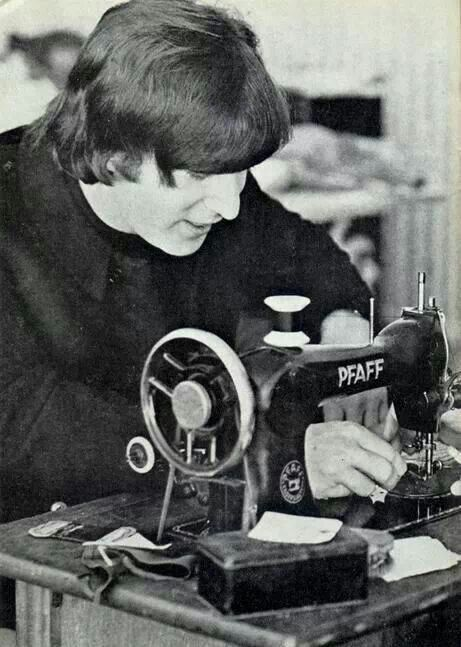 John Lennon sewing on a Pfaff.