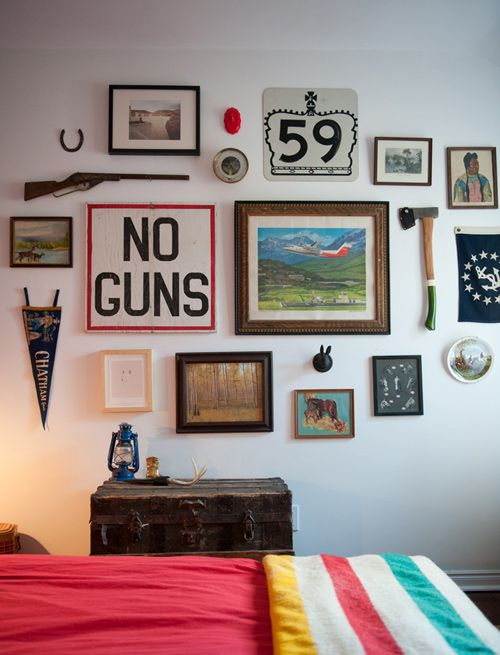 Oh, Pioneer!Guest Room, Wall Art, Wall Collage, Guns, Spare Bedrooms, Interiors, Gallery Wall, Boys Room, Bedrooms Wall