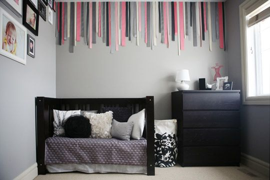 Ribbons hung on the wall.  Maybe it'll make my room look a bit taller.Decor, Ribbons Wall, Little Girls Room, Girls Bedrooms, Kids Room, Room Ideas, Baby Room, Little Girl Rooms, Room Kids