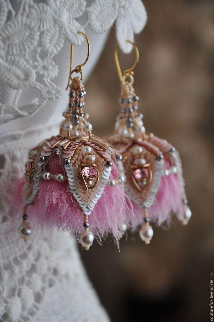 """Купить Серьги """"В стиле Гэтсби"""" - розовый, кремовый, золотистый, персиковый, вышитые серьги"""