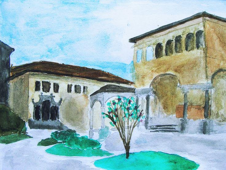 #sacrimontisocial #sacromonte #varallo #dipinto #piazza Acquarello Piazza dei tribunali Sacro Monte di Varallo UNESCO