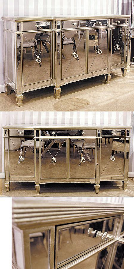 Antique style Venetian Mirrored Wide Large Sideboard