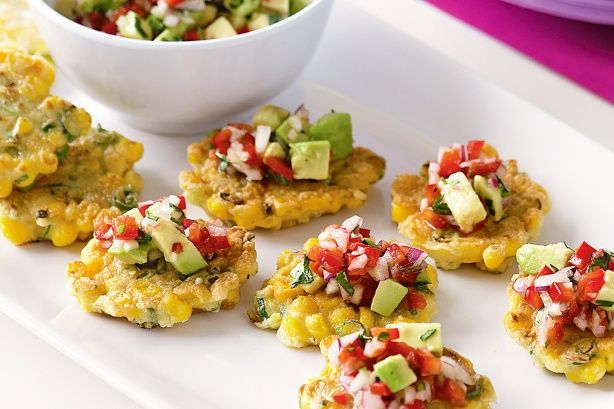 These colourful corn fritters are a great way to decorate your table. Served with Avocado salsa