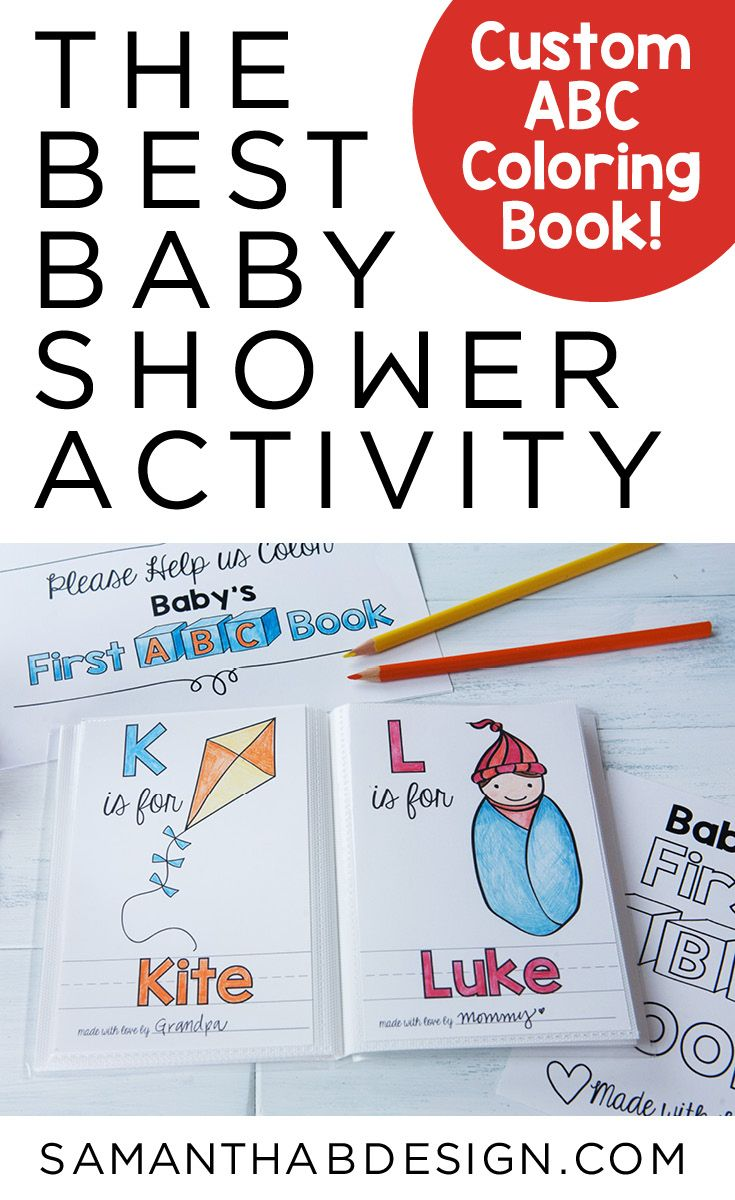 Personalized Abc Coloring Book Is A Great Baby Shower Activity For All Ages Customize With Baby Baby Shower Activities Shower Activity Boy Baby Shower Themes