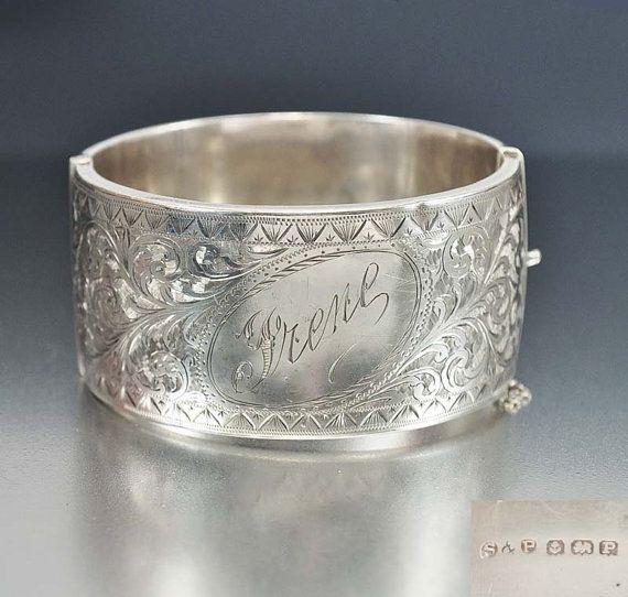 Wide Sterling Silver Art Deco Bracelet Bangle English Engraved Monogram Art Deco Jewelry Antique Jewelry
