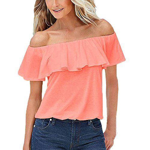 EFINNY Women's Off the Shoulder Ruffle Cute Crop Top Tube Blouse - http://www.darrenblogs.com/2017/01/efinny-womens-off-the-shoulder-ruffle-cute-crop-top-tube-blouse/