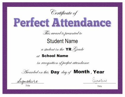 Award certificate template for perfect attendance at school. Free downloads available at http://mycertificatetemplates.com/download/perfect-attendance-certificate/