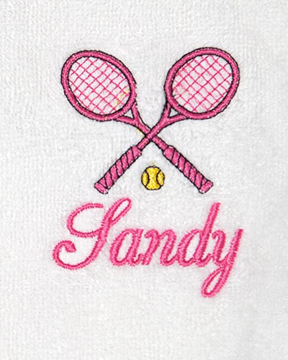 Light Pink Embroidered Tennis Towel