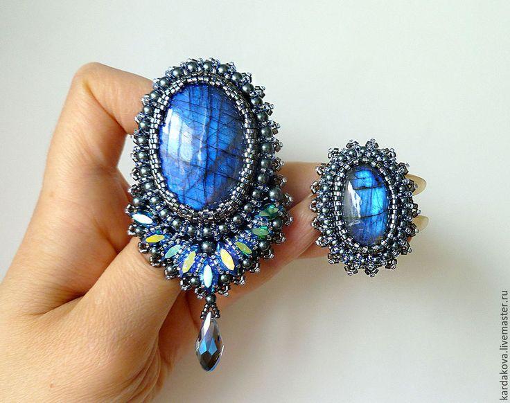 Купить Кольцо с лабрадоритом - темно-синий, кольцо с лабрадоритом, кольцо с камнем, колье из бисера