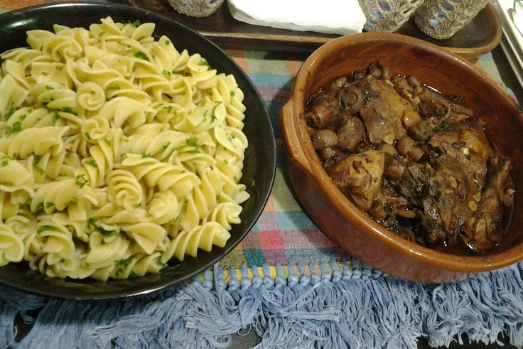 Coq au Vin with Buttered Noodles. The secret is in the slow cooking. (and good wine!)