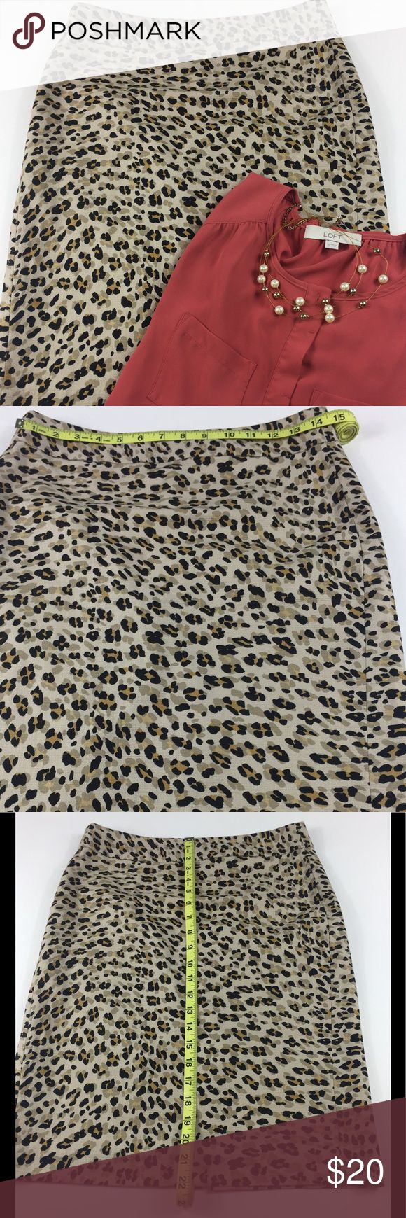 Banana Republic Straight Skirt l 2 This Banana Republic straight style leopard print skirt is lined and  made of 98% cotton and 2% spandex. It has two minor imperfections that are barely noticeable, see last two photos. Banana Republic Skirts