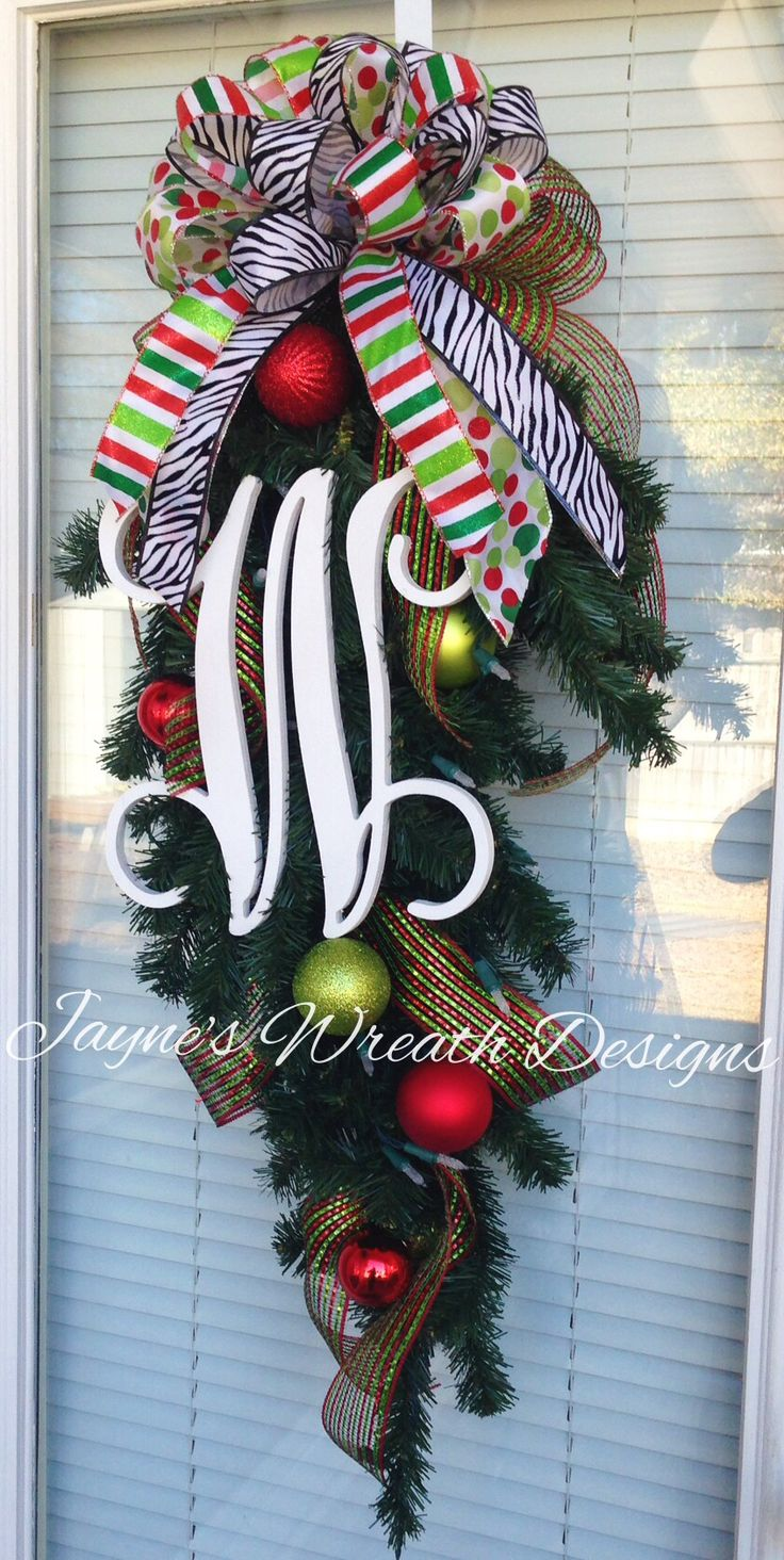 Wreath With Single Vine Monogram Letter, Ornaments,  And Red,