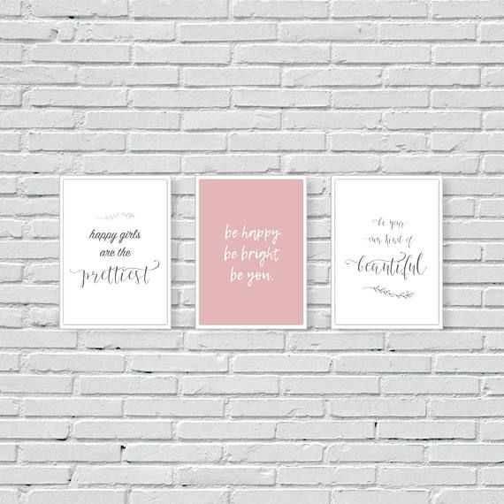 Quote with Pink Background //Canvas Print wall home Decor choose your size