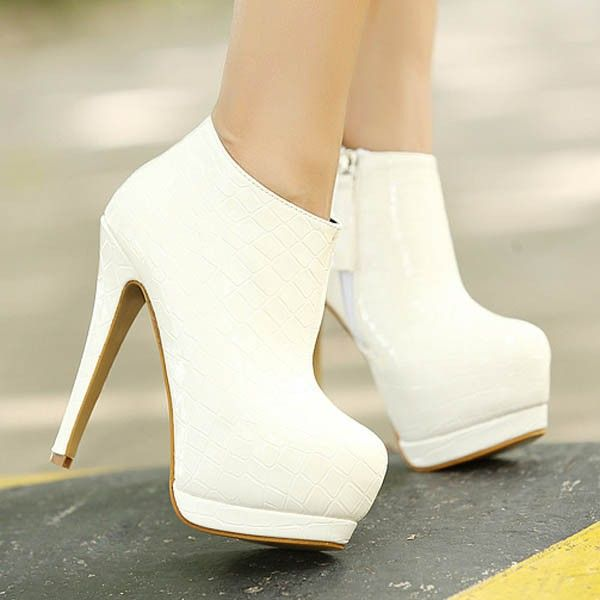 White Heels Boots