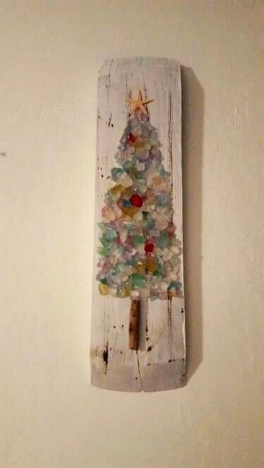 Sea Glass Christmas Tree-I could do this.                                                                                                                                                     More