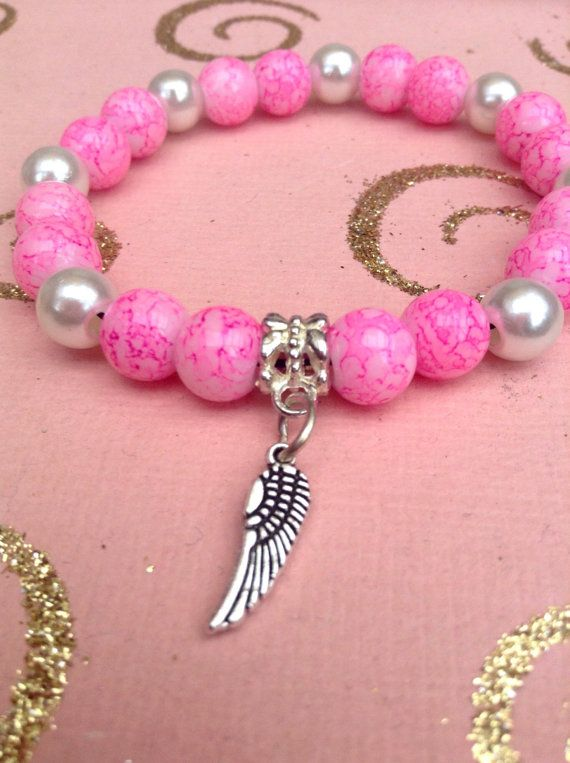 Pink and white glass beaded. Glass pearl by HarxieXbracelets