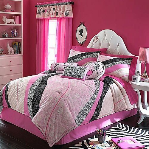 Paris Queen Bedding Sets | ... Girls Pink Black White Queen Comforter Set Polka Dot Flower Paris Chic