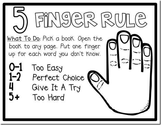 Free Five Finger Rule Posters- Have students use when