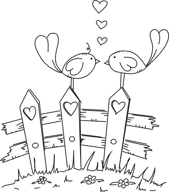 free digital stamp of love birds by lorie colour it, sew it, trace it, etc.