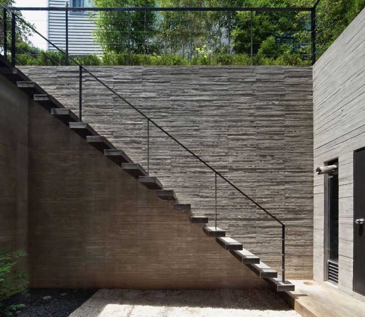 Architecture, Outdoor Stairs Family House Design With Stone Brick Wall And  Grey Color Ideas: