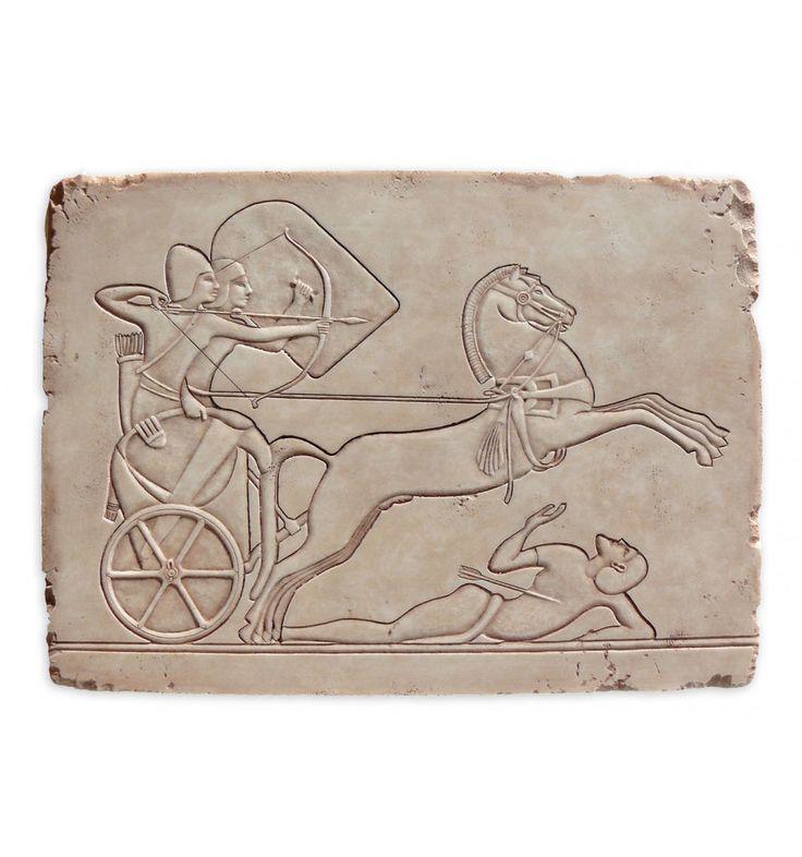 Relieve de Tebas | Tablilla egipcia | Motivo ecuestre | Artesanía