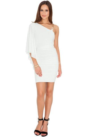 Chelsea One-Shouldered Batwing Mini Dress - Cream – Juicy Secrets