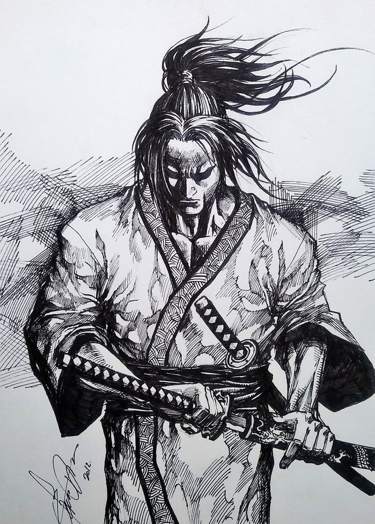 Ok. The face I redrew (but borrowed) from this amazing piece I found somewhere of a drawing of Musashi (can't remember where it came from or who drew the original). I liked it so much I used it in ...